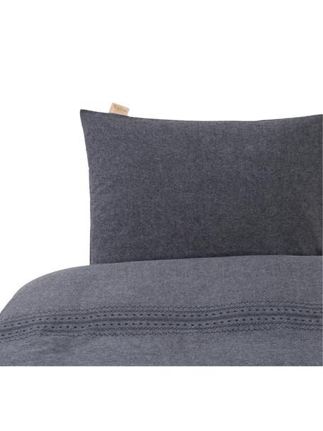 Geborduurd flanellen dekbedovertrek Pure Craft, Weeftechniek: flanel, Grijs, 140 x 220 cm