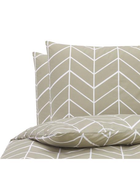 Pościel z bawełny renforcé Mirja, Taupe, kremowobiały, 240 x 220 cm + 2 poduszki 80 x 80 cm