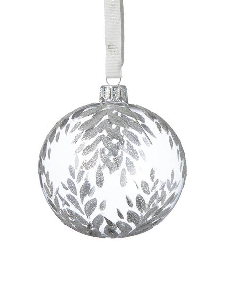 Weihnachtskugeln Cadelia Ø8cm, 2Stück, Transparent, Silberfarben, Ø 8 cm