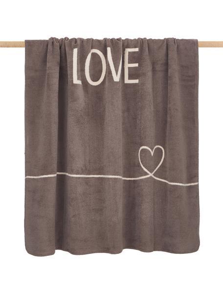 Kuscheldecke Love mit Aufschrift und Motiv, 58%Baumwolle, 32%Polyacryl, 10%Polyester, Taupe, Beige, 150 x 200 cm