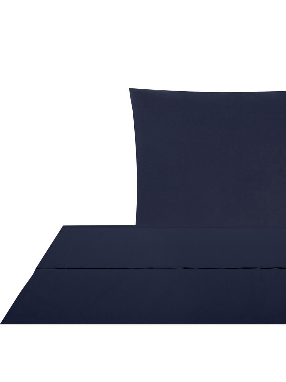 Set lenzuola in percalle Elsie, Tessuto: percalle Densità del filo, Blu scuro, 150 x 300 cm