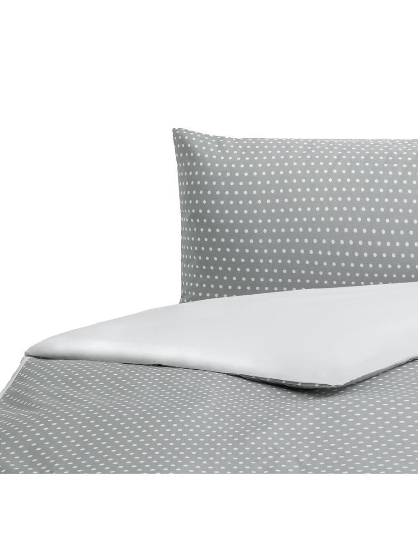 Parure copripiumino in cotone Perun, Cotone, Fronte: grigio, bianco Retro: bianco, 155 x 200 cm
