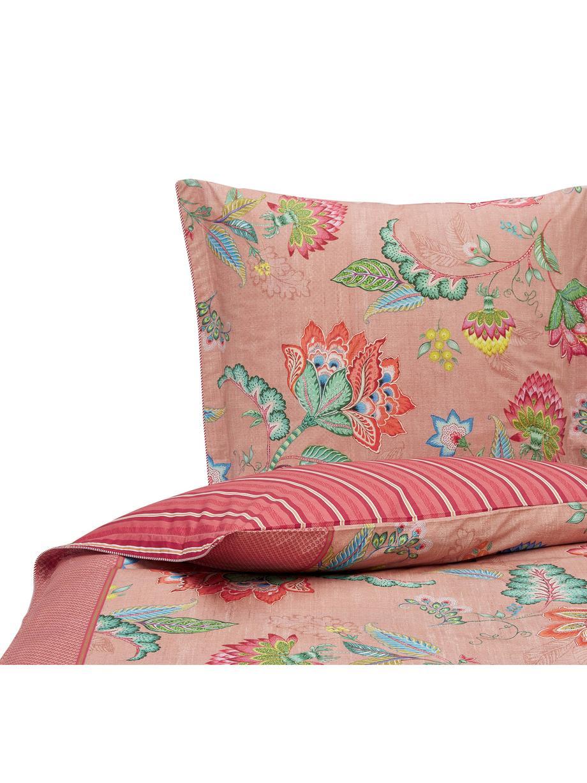 Baumwoll-Wendebettwäsche Jambo Flower mit Blumenmuster und gestreifter Rückseite, Webart: Perkal Fadendichte 200 TC, Rosa, Mehrfarbig, 155 x 220 cm + 1 Kissen 80 x 80 cm
