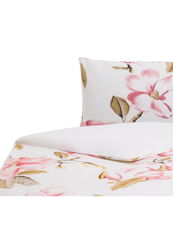Funda nórdica Magnolia, Algodón, Blanco, tonos verdes y rosas, Cama 90 cm (155 x 220 cm)