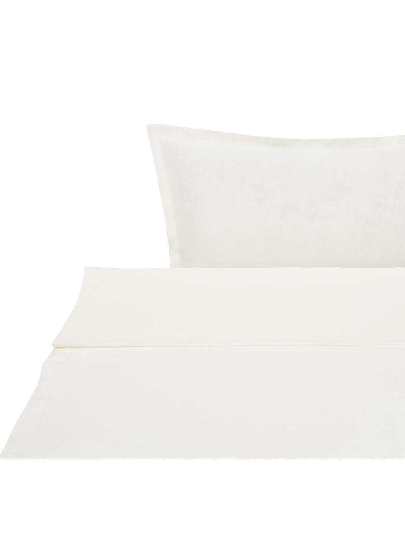 Set lenzuola in lino Soffio, Crema, 260 x 295 cm