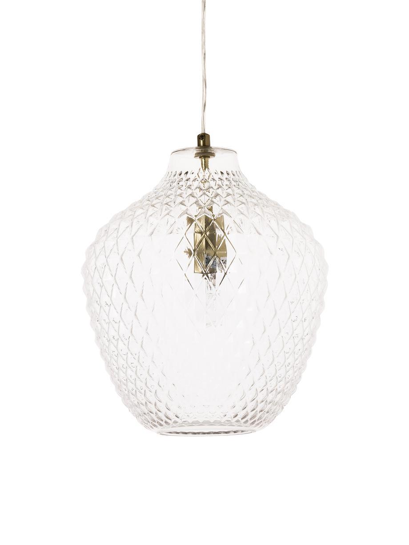 Kleine Pendelleuchte Lee aus Glas, Lampenschirm: Glas, Baldachin: Metall, verchromt, Transparent, Messing, Ø 27 x H 33 cm
