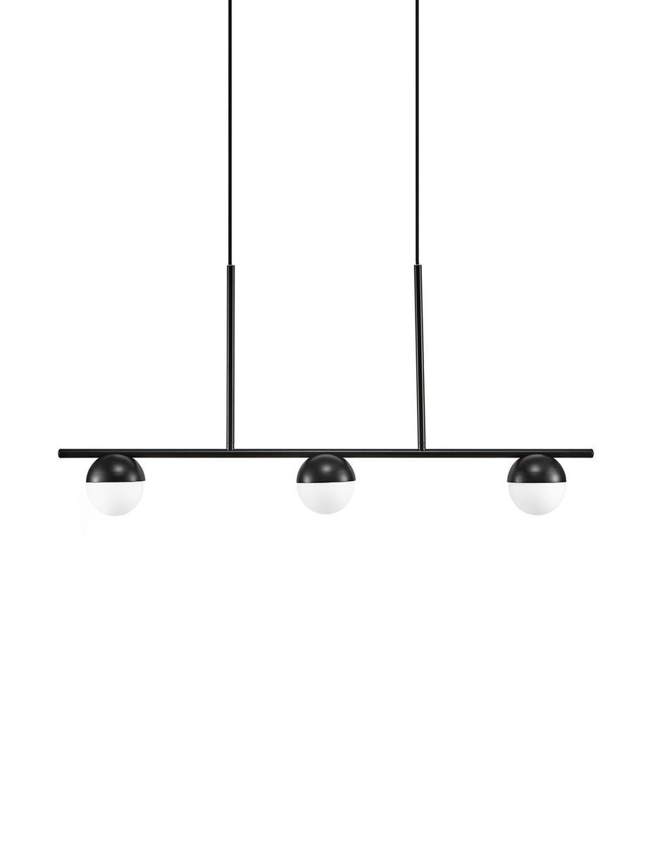 Duża lampa wisząca ze szkła opalowego Contina, Biały, czarny, S 90 cm x W 42 cm