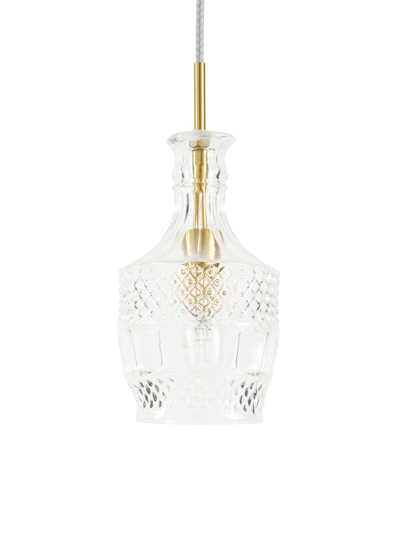 Lampada a sospensione in vetro Brussels, Paralume: vetro, Baldacchino: metallo rivestito, Trasparente, dorato, Ø 13 x Alt. 30 cm