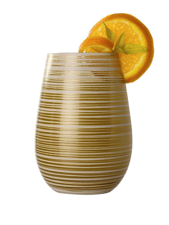 Kristall-Cocktailgläser Twister in Gold/Weiß, 6 Stück, Kristallglas, beschichtet, Weiß, Goldfarben, Ø 9 x H 12 cm