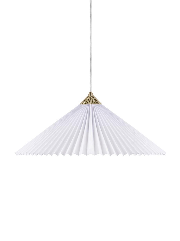 Lámpara de techo grande Matisse, Pantalla: algodón, Anclaje: plástico, Cable: plástico, Blanco, latón, Ø 60 x Al 18 cm