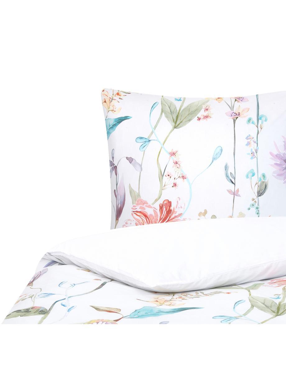 Baumwollperkal-Bettwäsche Meadow mit Aquarell Blumen-Muster, Webart: Perkal Fadendichte 180 TC, Mehrfarbig, Weiß, 135 x 200 cm + 1 Kissen 80 x 80 cm
