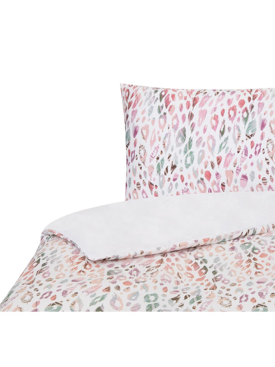 Funda nórdica de satén doble cara Animal Print, Agodón satinado, Blanco, multicolor, Cama 90 cm (160 x 220 cm)