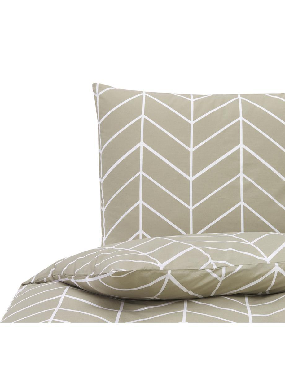 Baumwoll-Bettwäsche Mirja mit grafischem Muster, Webart: Renforcé Fadendichte 144 , Taupe, Cremeweiß, 155 x 220 cm + 1 Kissen 80 x 80 cm