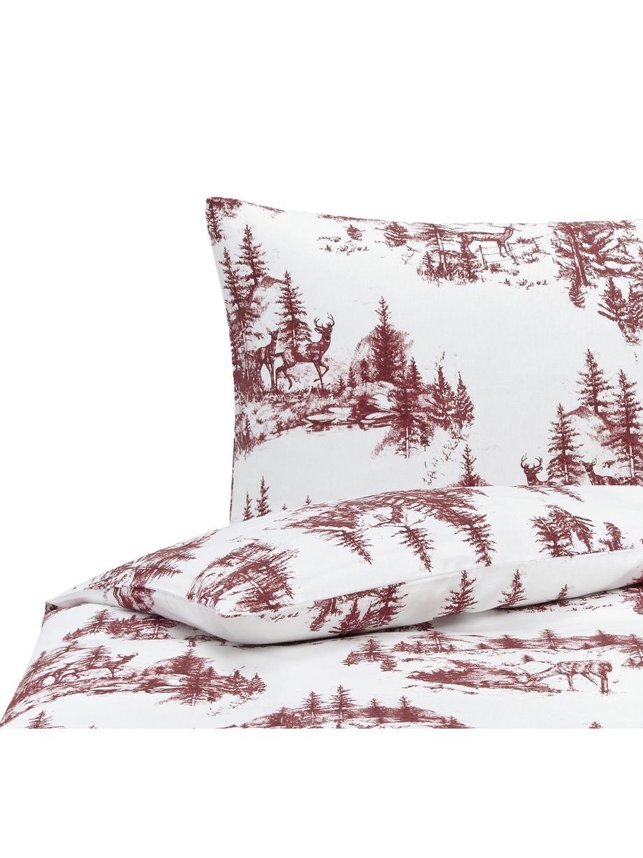 Flanell-Bettwäsche Nordic mit winterlichem Motiv, Webart: Flanell Flanell ist ein s, Rot, Weiss, 135 x 200 cm + 1 Kissen 80 x 80 cm