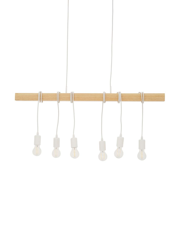 Große Retro-Pendelleuchte Townshend, Weiß, Holz, 100 x 110 cm