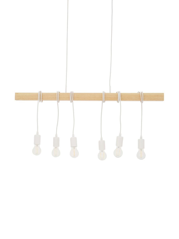 Grote retro hanglamp Townshend, Wit, houtkleurig, 100 x 110 cm