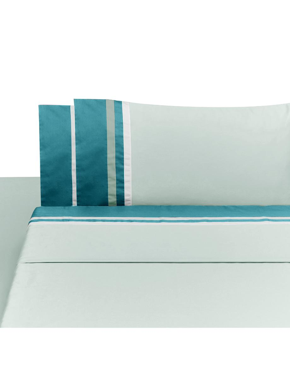 Set lenzuola in raso di cotone Kubric, Menta, bianco, 260 x 295 cm