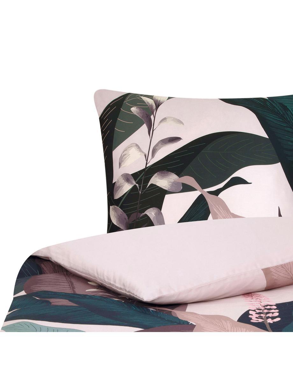 Pościel z satyny bawełnianej Flora, Przód: wielobarwny Tył: brudny różowy, 135 x 200 cm + 1 poduszka 80 x 80 cm