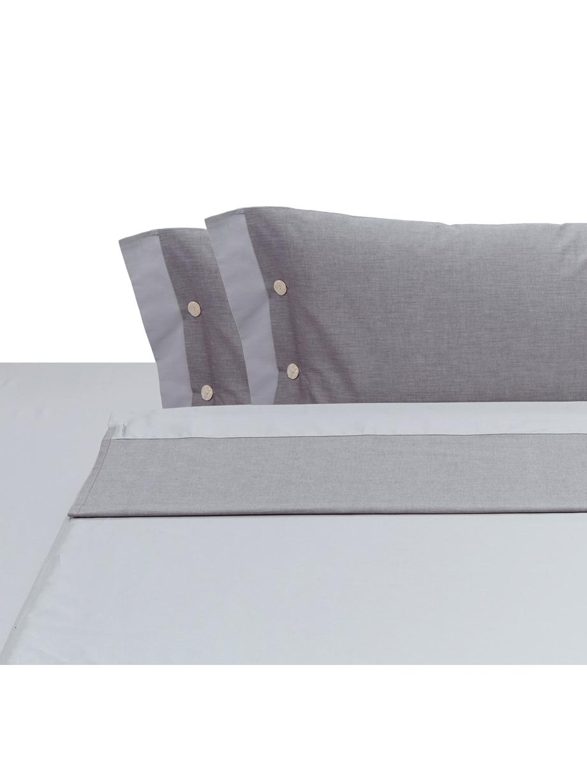 Set lenzuola in raso di cotone Charme, Raso di cotone, Grigio chiaro, grigio, 250 x 290 cm