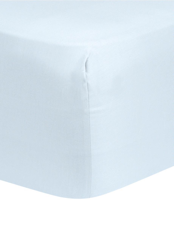 Sábana bajera de satén Comfort, Azul claro, Cama 150 cm (160 x 200 cm)