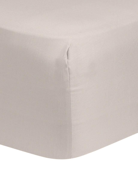 Hoeslaken Comfort in taupe, katoensatijn, Weeftechniek: satijn, licht glanzend, Taupe, 90 x 200 cm