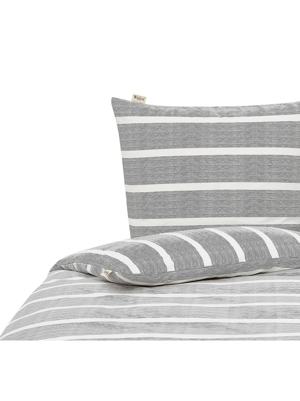 Pościel z bawełny Stripe Along, Antracytowy, biały, 135 x 200 cm