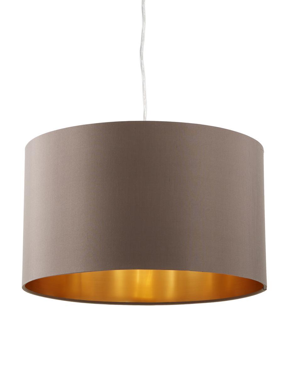 Pendelleuchte Jamie, Baldachin: Metall, vernickelt, Silberfarben, Grau-Beige, Ø 38 x H 23 cm