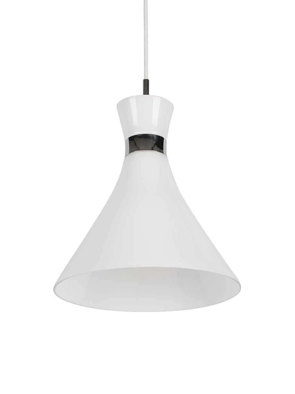 Lámpara de techo pequeña de vidrio Trumpet, Pantalla: vidrio, Fijación: metal cromado, Cable: cubierto en tela, Blanco, cromo, Ø 26 x Al 35 cm