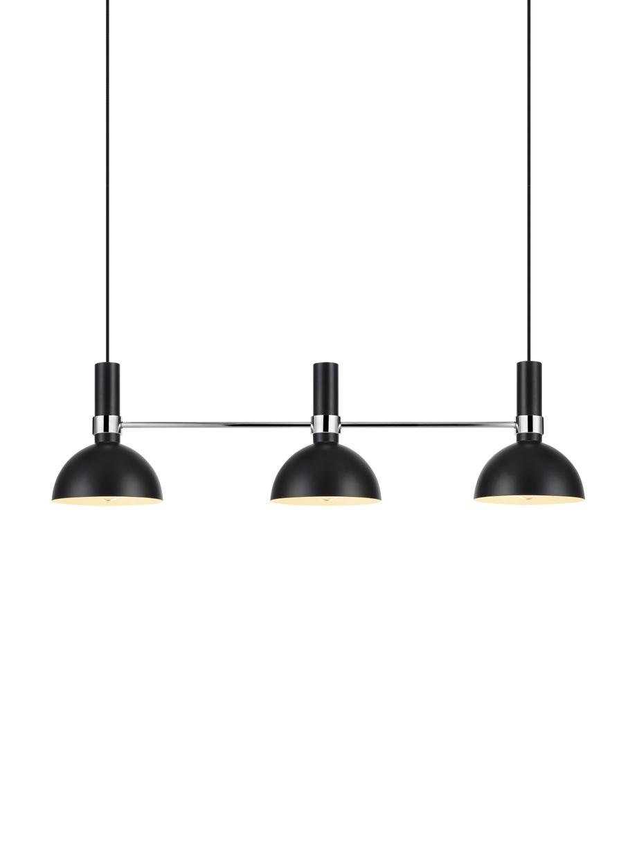 Große Design-Pendelleuchte Larry, Schwarz,Chrom, 100 x 24 cm