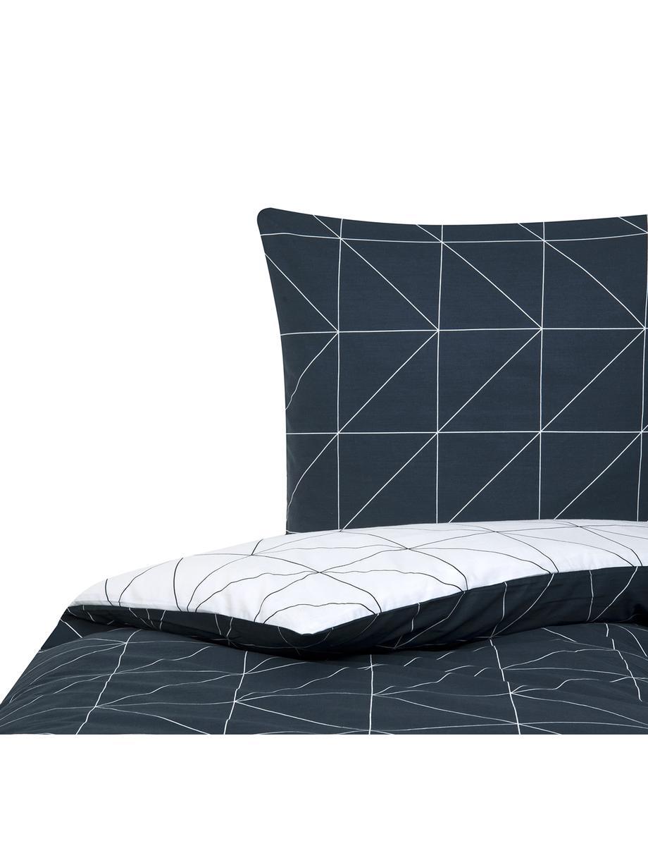 Dubbelzijdig renforcé dekbedovertrek Marla, Weeftechniek: renforcé, Donkerblauw, wit, 140 x 200 cm