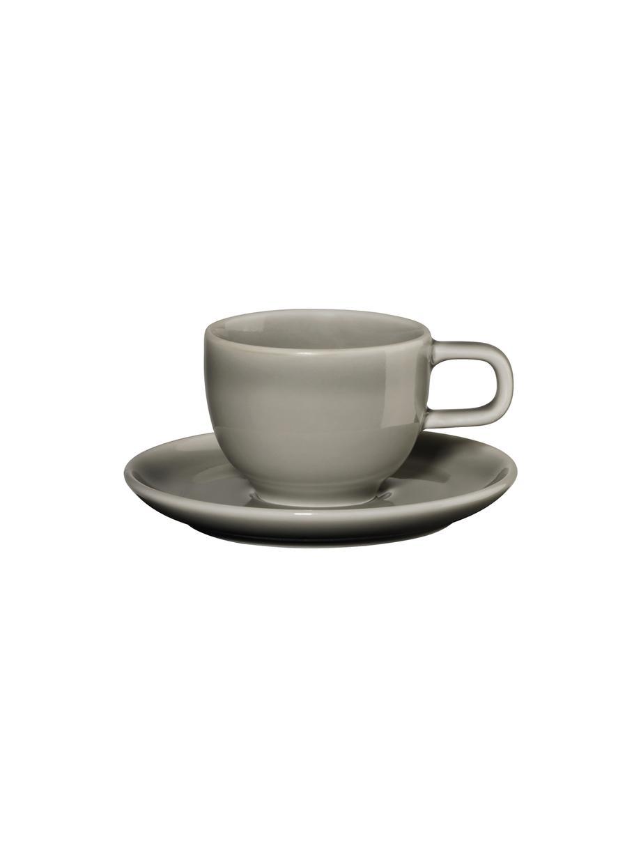 Porzellan-Espressotassen Kolibri mit Untertasse  in Grau glänzend, 6 Stück, Porzellan, Grau, Ø 6 x H 6 cm