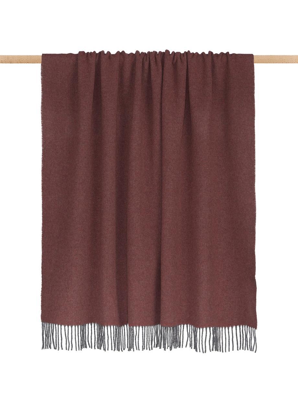 Kasjmieren plaid Liliana in roodbruin/grijs, 80%wol, 20%kasjmier, Rozig, grijs, 130 x 170 cm