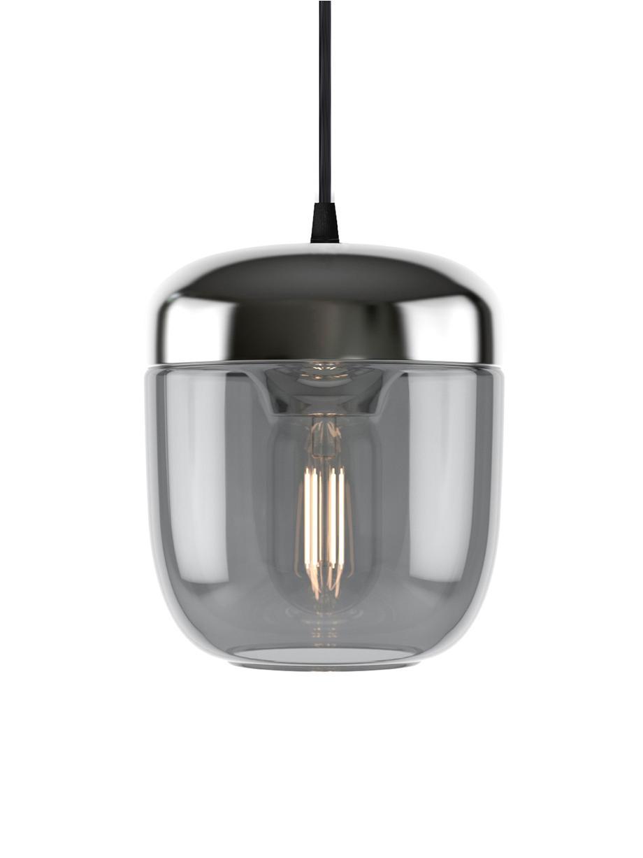 Kleine Pendelleuchte Acorn aus Glas, Baldachin: Silikon, Grau, Aluminium, Ø 14 x H 16 cm