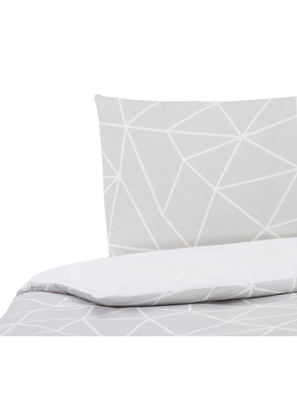 Dubbelzijdig dekbedovertrek Amer, Katoen, Bovenzijde: grijs, wit. Onderzijde: wit, 140 x 200 cm