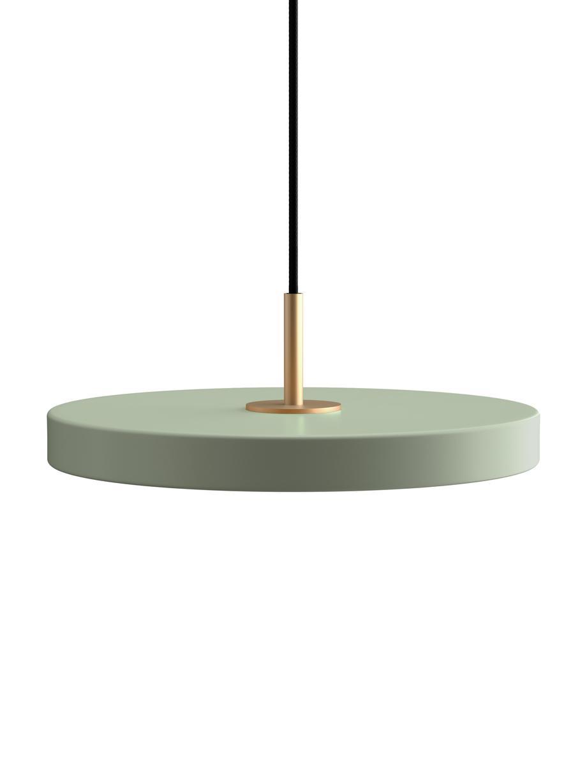 Lampada a sospensione Asteria, Paralume: alluminio rivestito, Baldacchino: polipropilene, Verde oliva, Ø 31 x Alt. 11 cm