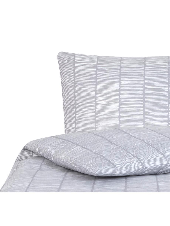 Gemusterte Baumwoll-Bettwäsche Paulina, Webart: Renforcé Fadendichte 144 , Grau, Weiß, 135 x 200 cm + 1 Kissen 80 x 80 cm