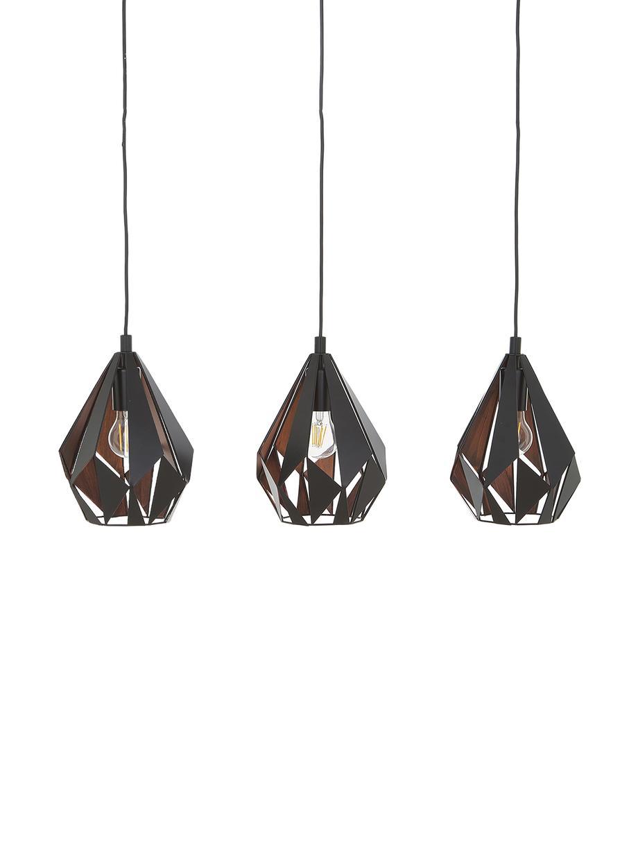 Pendelleuchte Carlton aus Metall, Schwarz, 81 x 28 cm
