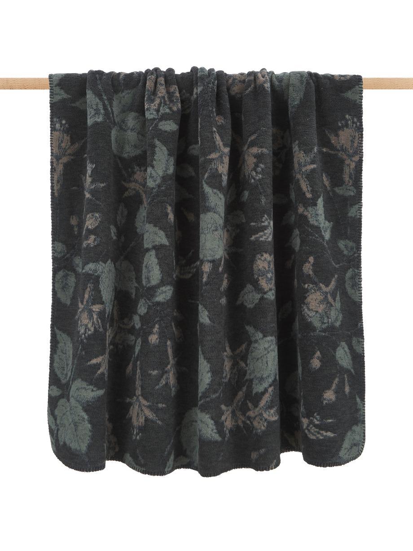 Puszysty koc Savona, 85% bawełna, 8% wiskoza, 7% poliakryl, Ciemny szary, zielony, ciemny beżowy, S 150 x D 200 cm