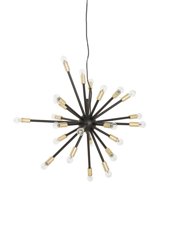 Lámpara de techo grande Spike, Anclaje: metal recubierto, Pantalla: metal recubierto, Cable: cubierto en tela, Negro, dorado, Ø 90 cm
