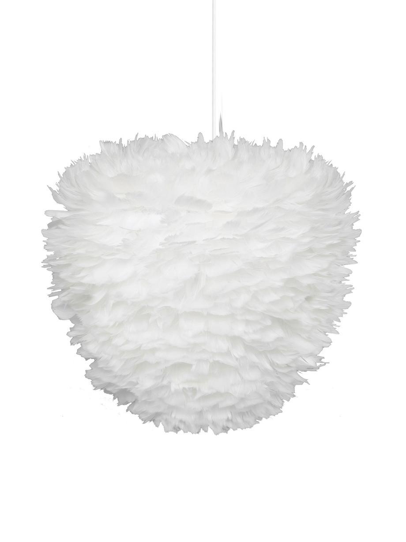 Hanglamp Eos Evia van veren, Lampenkap: ganzenveren, textiel, Wit, Ø 40 x H 39 cm
