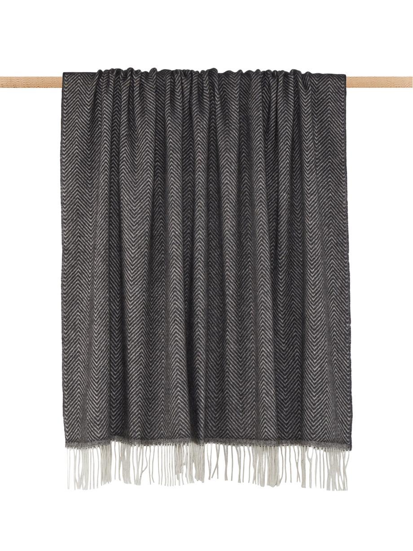 Manta de lana Aubrey, Gris antracita, blanco crudo, An 140 x L 186 cm