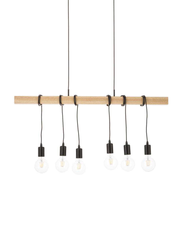 Grote hanglamp Townshend, Zwart, houtkleurig, 100 x 110 cm