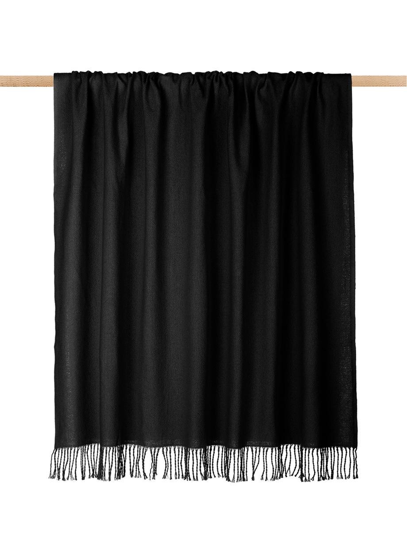 Einfarbige Baumwolldecke Madison in Schwarz mit Fransenabschluss, 100% Baumwolle, Schwarz, 140 x 170 cm