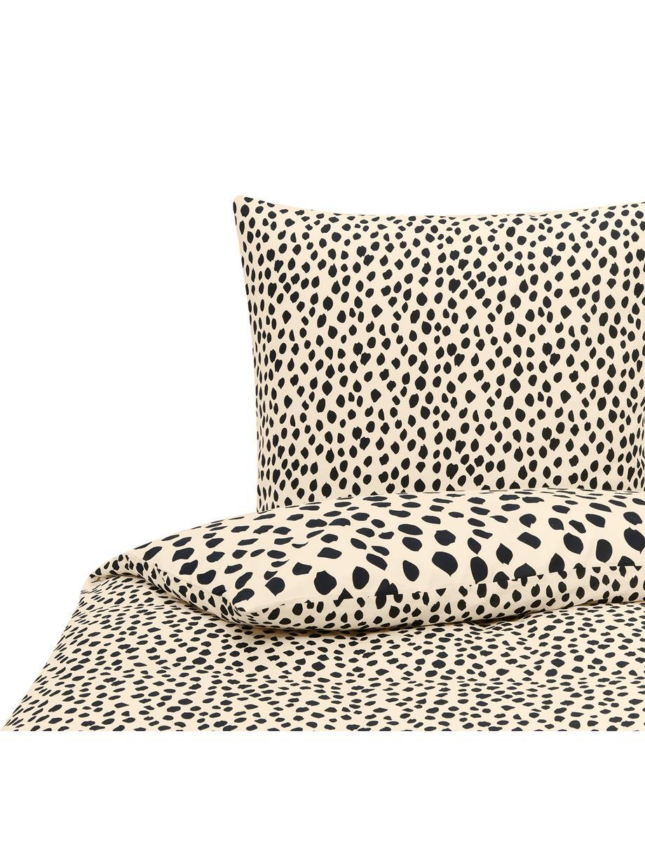 Baumwoll-Bettwäsche Go Wild mit Leoparden-Muster, 100% Baumwolle Bettwäsche aus Baumwolle fühlt sich auf der Haut angenehm weich an, nimmt Feuchtigkeit gut auf und eignet sich für Allergiker., Beige,Schwarz, 135 x 200 cm + 1 Kissen 80 x 80 cm