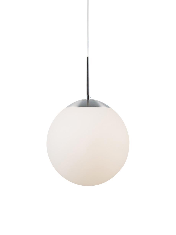 Pendelleuchte Cafe aus Opalglas, Lampenschirm: Opalglas, Dekor: Metall, Weiß, Silberfarben, Ø 15 x H 29 cm