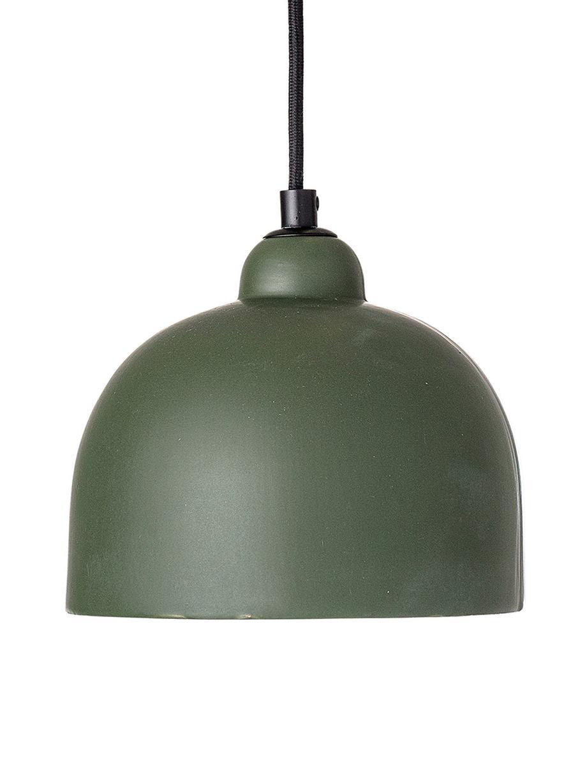 Kleine Pendelleuchte Stina aus Steingut, Lampenschirm: Steingut, Baldachin: Metall, beschichtet, Grün, Ø 18 cm