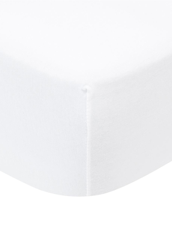Topper-Spannbettlaken Lara, Jersey-Elasthan, 95% Baumwolle, 5% Elasthan, Weiß, 90 x 200 cm