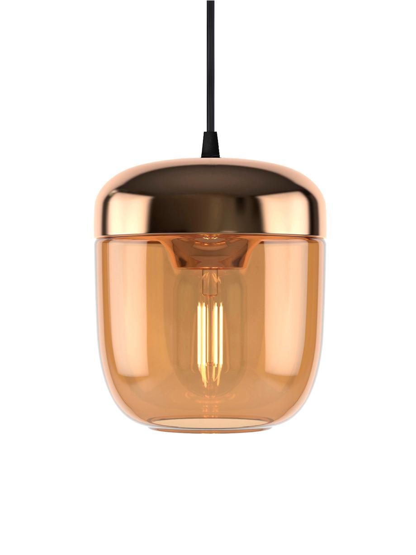 Kleine Pendelleuchte Acorn aus Glas, Baldachin: Silikon, Kupferfarben, Bernsteinfarben, Ø 14 x H 16 cm