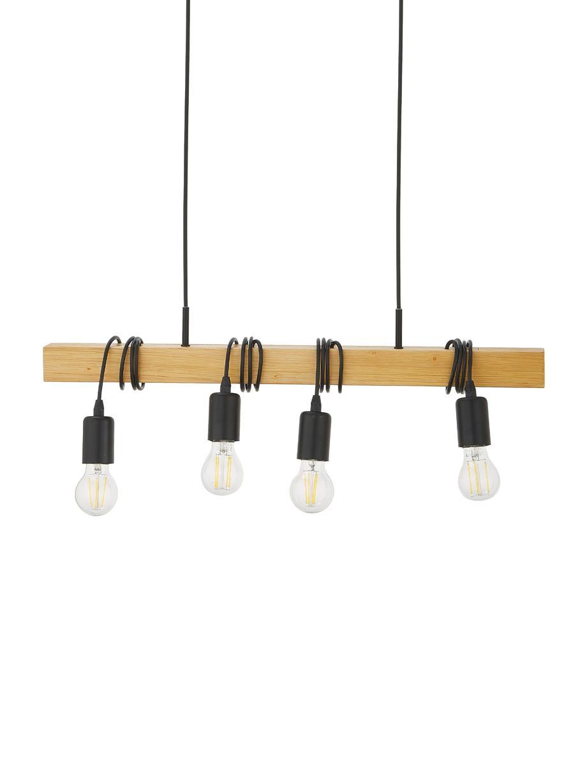 Lampada a sospensione Townshend, Nero, legno, Larg. 70 x Alt. 110 cm