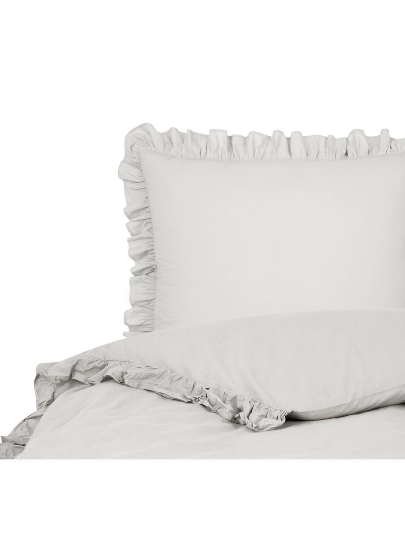 Pościel z bawełny z efektem sprania Florence, Jasny szary, 135 x 200 cm